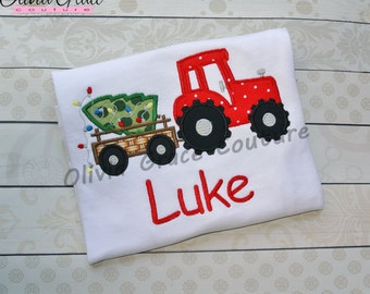 Boys Christmas Shirt, Christmas Tractor with Tree, Embroidered Applique Shirt or Bodysuit, Christmas outfit
