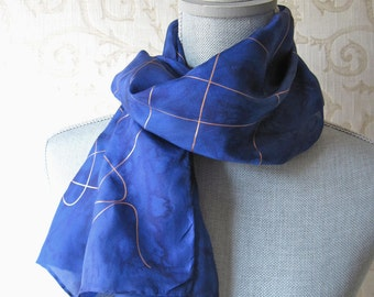 Hand Painted Silk Scarf in Deep Sapphire with Gold Accent