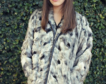 COYOTE & FOX Chevron Fur Luxe Batwing Coat Boho