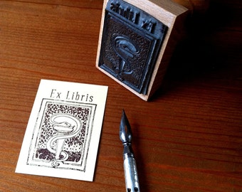 Personalized Ex Libris Medical Symbol Aeskulap Snake Bookplate Stamp with wooden holder and free stamp pad
