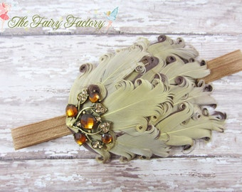 Brown and Gold Feather Headband, Shades of Brown, Beige & Gold Feather Headband w/ Large Crystal Accent - Baby Toddler Child Girls Headband