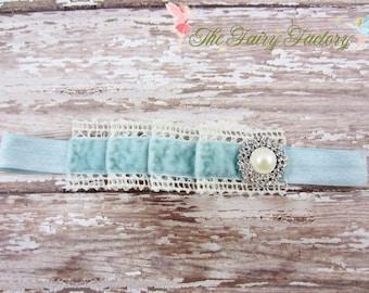 Baby Headband, Pleated Baby Blue Velvet and Ivory Crochet Lace w/ Pearl & Crystals Headband, Vintage, Newborn Baby Child Girls Headband