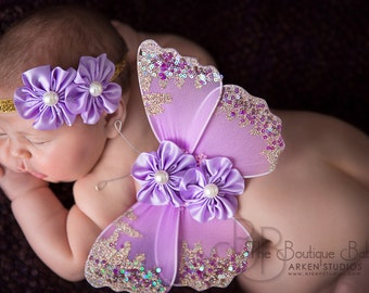 Baby Butterfly Wings and Headband Set, Luxe Newborn Baby Wings, Baby Girl Photography Prop, Lavender and Gold Glitter Wings, Flower Wings
