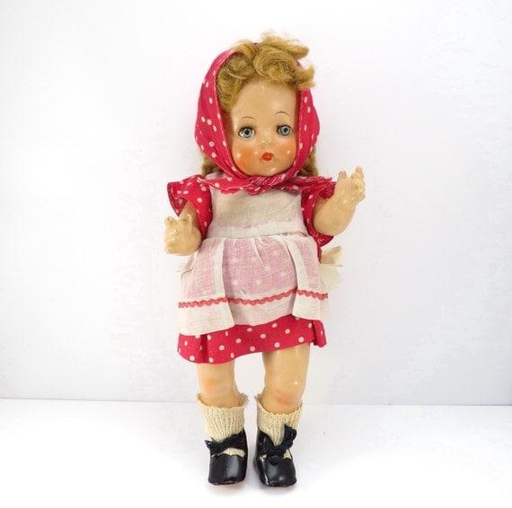 1930 Vintage effanbee gelbes Kleid