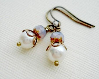 Pearl Earrings In Brass Czech Glass Earrings Antique Brass Opal Earrings White Pastel Earrings Vintage Style Victorian Jewelry
