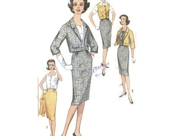 1960s Suit Ensemble Skirt Jacket Blouse Pattern Simplicity 3357 B38 Sz 18