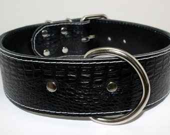 Black Alligator Leather Dog Collar With  White Stitching And Nickel Hardware - Black Leather Collar - Leather Dog Collar - (Made In Ca)