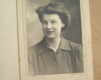 Large 40's Black and White Portrait Photograph - 1940's Young Lady Photo