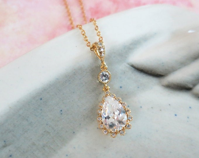 Deborah - Cubic Zirconia Luxe Teardrop Necklace, Gold Wedding Jewelry, Bridal Bridesmaid Necklace, White Crystal Jewelry, White Weddings