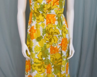1950's floral cotton Maxi dress size Small to Medium