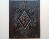 "Arts & Crafts Carved Oak Board, Wall Plaque. 13"" x 10.5"""