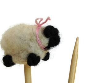 Sheep Toppers Bamboo Knitting Needles Decorative Needle Felted Sheep Set Choose your own SIZE
