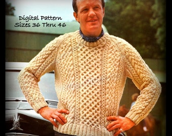 Mens Irish Sweater Pattern - Sizes 36 thru 46 - Fisherman Knit - PDF 04224072 - Irish Knitting