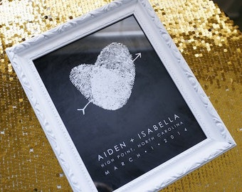 Chalkboard Style Unique Wedding Guest Book Alternative with Your Fingerprint Black and White Gold Creative Wedding Table Decor