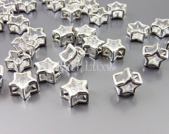 4 Small clear crystal Cubic Zirconia star beads, silver brass metal findings, jewelry making supplies 1826-BR