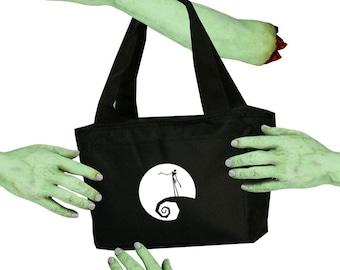 Voodoo Sugar Jack Skellington On Hill Black Zippered Insulated  Cooler Tote Bag