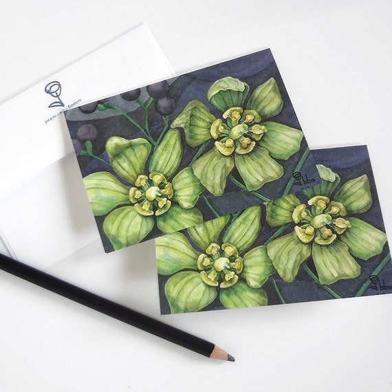 flower art print cards, green flowers blank note card set, botanical stationery, small notecards
