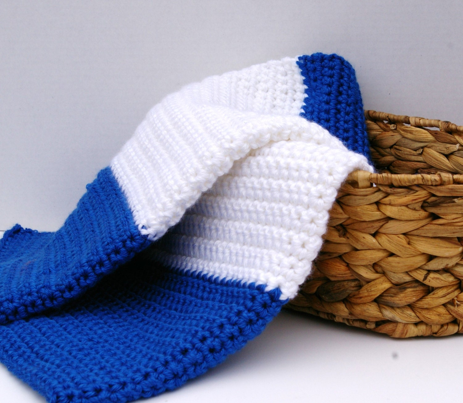 Baby Blanket Baby Afghan In Royal Blue And White By