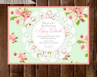 Shabby Style Cottage Roses with Lace Baby Shower Invitation - PRINTABLE INVITATION DESIGN