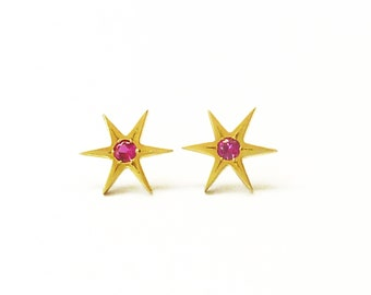 Gold Star Earrings, Real Gold earrings, Star of David, Gold Stud Earrings, Ruby Jewelry