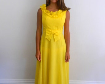 1960s Maxi Dress .... Vintage 60s Yellow Polka Dot Maxi ... Size Small to Medium
