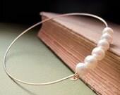Pearl Gold Bangle Bracelet. White Pearl Bangle cuff. Delicate Jewelry. Pearl Bracelet. Dainty Jewelry. Freshwater Pearls Bracelet.Juni Gifts