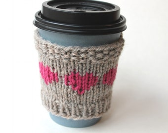 Wool Coffee Sleeve, Mothers Day, Hot Pink Cup Cozy, Reusable Cup Collar, Knitted drink cozy, Spring gift, small gift, Mom gift, Gift for Mom