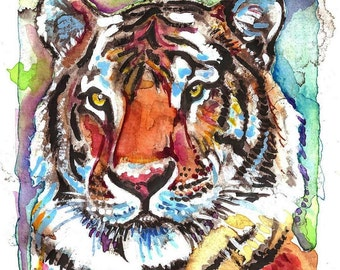 Tiger Artist Signed Watercolor Print