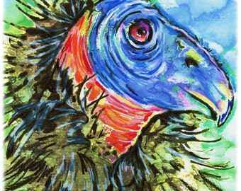 California Condor Watercolor/Colored Pencil Print, Artist-Signed