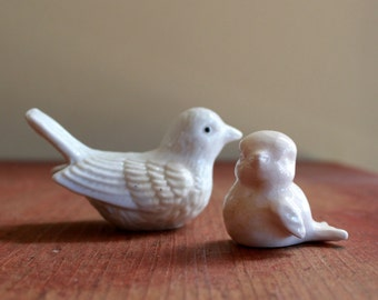 Vintage White Ceramic Birds - Miniature Sparrow and Pigeon - Set of 2