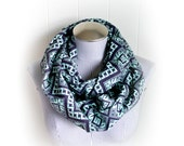 Aqua and Navy Tribal Print Infinity Scarf, Flannel Cross Stitch Pattern