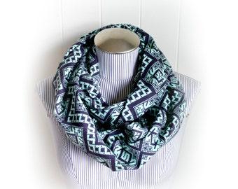 Aqua and Navy Tribal Print Infinity Scarf, Flannel Cross Stitch Pattern