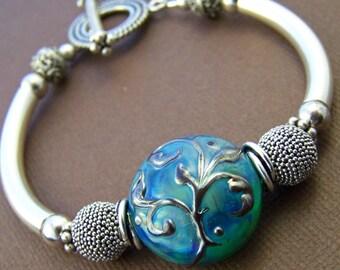 Kalinda Bangle Bracelet - Lampwork Glass Bead Sterling Silver Curved Tube Bracelet