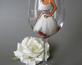 SALE Hand painted Bridal shower party Personalized Wine or Champagne glasses Portraits Gift for Bride