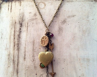 Super SALE Up-cycled vintage Heart Locket , Solid Brass Arrow Feather cross charm, Rhinestone Bauble Valentines Day Idea Valentine