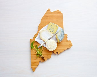 Maine Cutting Board 4th of july Gift Personalized engraved Maine cheese state shaped board