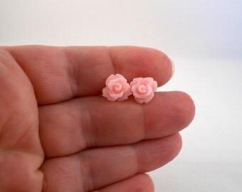 Pink Rose Earrings, Pastel Pink Earrings for Sensitive Ears, Pretty Pale Pink Earrings, Spring Earrings, Spring Birthday Gift