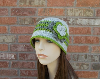 Gray Cloche Hat, Gray and Green, Womens Hats, Hats for Teenage Girls, Cute Hat, Winter Hat, Unique Hats, 1930s Hat, Hand Crocheted Items