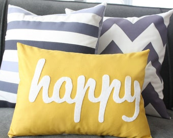 Happy Pillow - CUSTOM COLOR - Home and Living / Decor and Housewares, Gender Neutral Kids Decoration