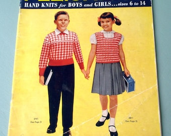 Fleisher's Hand Knits for Boys and Girls, Vintage patterns in sizes 6 to14, Vol. 100