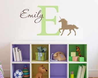Unicorn Wall Decal with Initial & Name - Personalized Girl Decal - Unicorn Wall Art - Medium