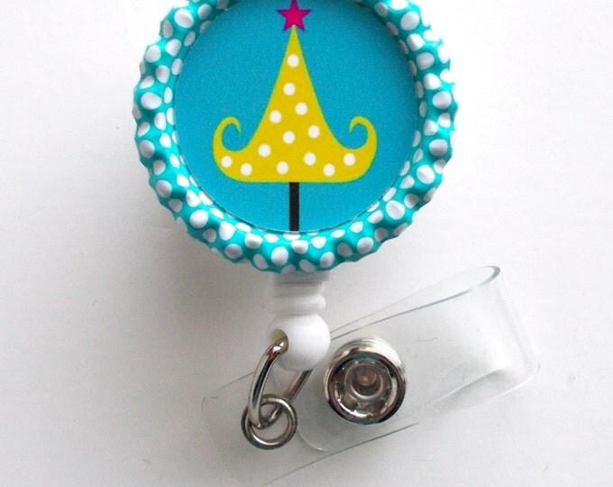 Polka Dot Christmas Tree  - Nursing Badge Holder - ER Nurse Badge Reel  - ER Name Badge - Nurses Badge - Cute Badge Reel