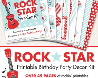 Rock Star birthday party printable decor kit - Over 45 pages of rockin' printables!