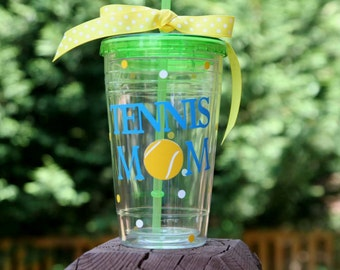Tennis Mom gift 16 oz Insulated clear cup with Tennis balls and polka dots - available in all Clear cup only