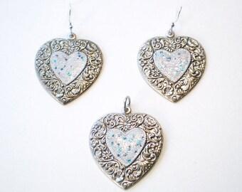 Fairy Tale Dreams Hand painted Silver HEART Dangle Pierced Earrings Pendant Set - Great Gift - Purple Blue Sparkles on White