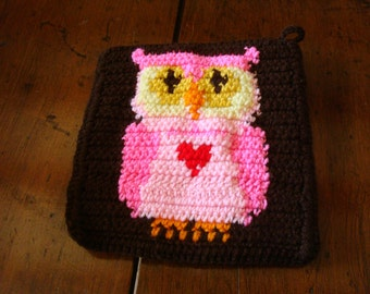 Pink Owl Potholder - Pink Owl - Brown - Crochet, Crocheted Potholder, Pot Holder, Hot Pad - Kitchen, Home Decor - Ready To Ship