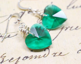 Teal Heart Earrings, Emerald Green Crystal Drops, Valentine's Day Jewelry