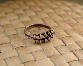 SALE:  10 pcs 10 Loop Antiqued Copper Plated Brass Adjustable Ring Bases - 30% Off