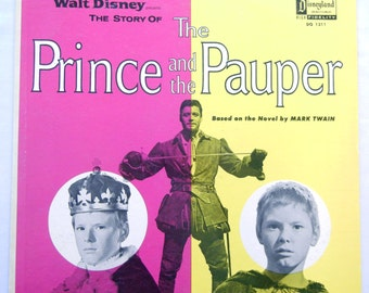 Vinyl LP Record Disney's Prince and the Pauper, 1960s, Disneyland Sound Hi-Fidelity, 1962, Walt Disney's Wonderful World of Color Version