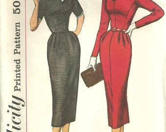 Vintage 50s Sewing Pattern Simplicity 2261 Dress Size 16 Bust 36